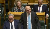 Former National minister Steven Joyce showed his humorous side during his validectory speech at his retirement in 2017. (Photo / Mark Mitchell)