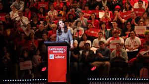 It was a full house of Labour Party faithful at the Auckland Town Hall on Saturday as Prime Minister Jacinda Ardern launched their re-election campaign. Photo / Sylvie Whinray