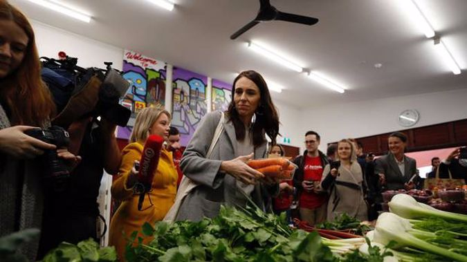 Prime Minister Jacinda Ardern at the Grey Lynn market as she begins her campaign for re-election. (Photo / Dean Purcell)