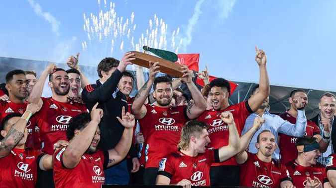 The Crusaders celebrate winning Super Rugby Aotearoa at the weekend. Photo / Photosport