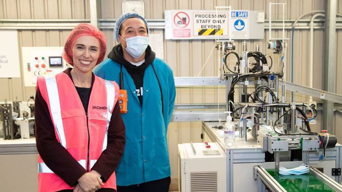 Jacinda Ardern visited a mask factory this week - National thinks that's suspicious. (Photo / File)