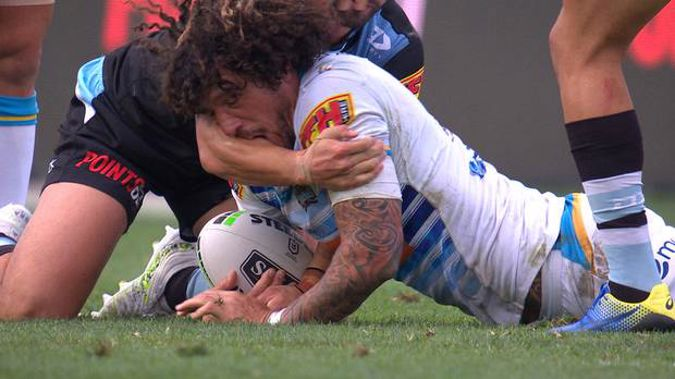The incident involving Kevin Proctor and Shaun Johnson. Photo / Screengrab