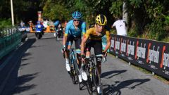 George Bennett tried to attack Jakob Fuglsang on the final climb. Photo / Getty