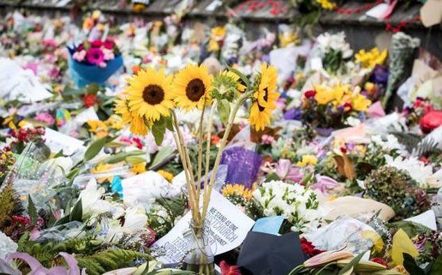 Flower tributes at Christchurch Botanic Gardens. (Photo / Michael Craig)