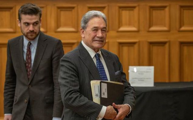 NZ First leader Winston Peters on his way into the House for Question Time at Parliament in Wellington today. (Photo / Mark Mitchell)