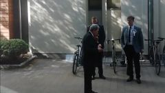 Winston Peters was caught lighting up besides a no smoking sign at the University of Otago. Video / Nick Meek