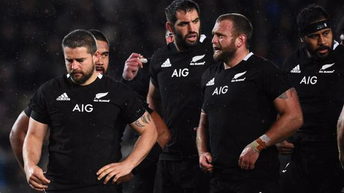 All Blacks players during a Bledisloe Cup test against the Wallabies last year. Photo / Photosport