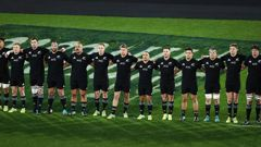 All Blacks players sing the national anthem. Photo / Photosport