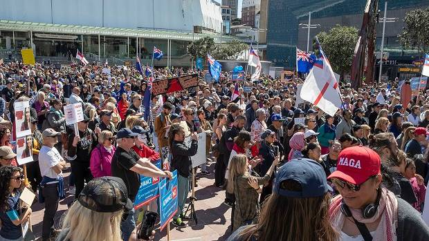 Crowds rally in New Zealand's Auckland against coronavirus lockdown