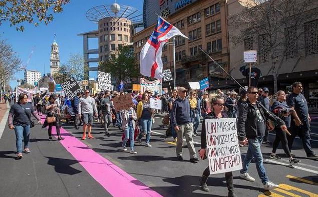 About a few thousand people were out for Advance Party's demonstration against the government's Covid-19 restrictions and lockdowns. Photo / Peter Meecham