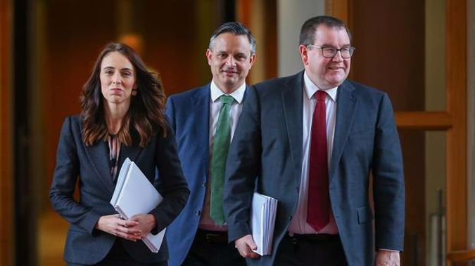 WELLINGTON, NEW ZEALAND - MAY 14: L to R: Prime Minister Jacinda Ardern, Greens leader James Shaw and Finance Minister Grant Robertson. Photo / Mark Mitchell