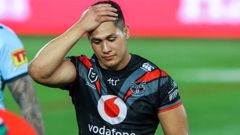 A dejected Roger Tuivasa-Sheck after the Warriors were beaten by the Sharks. Photo / Photosport