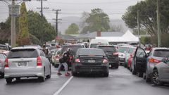 A large convoy congregated in Auckland for the tangihanga of a gang member, despite alert level 2 restrictions that prohibit more than 50 people attending. Photo / Peter Meecham