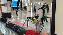 Sanitization operations take place at Fiumicino airport, near Rome, Italy, on the second day of the reopening of inter-regional travel on June 4, 2020.