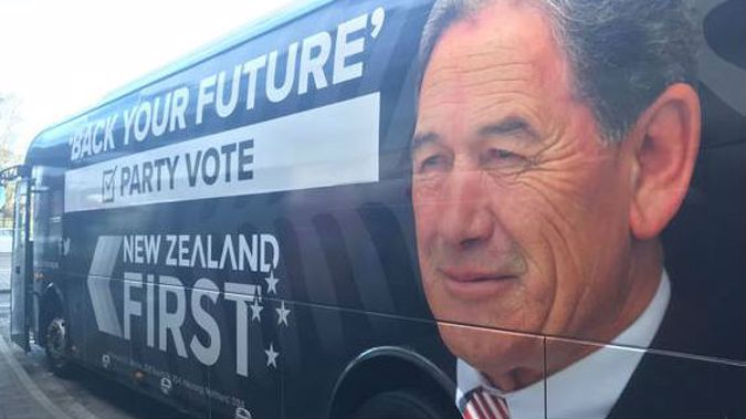 The NZ First campaign bus. (Photo / File)