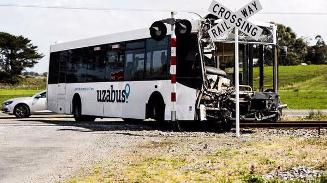 Forty one people were on board the bus when it collided with a train. Photo / Dom Thomas - RNZ