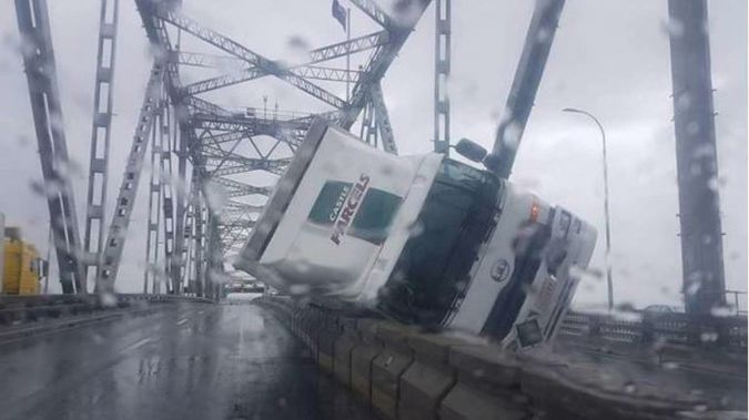 One of the toppled trucks that damaged the bridge. (Photo / Supplied)