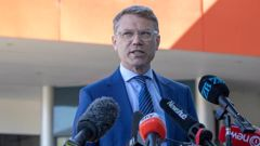 National Party finance spokesman Paul Goldsmith during his press conference, over a $4 billion hole in their economic plan, at Avalon Studios in Lower Hutt. Photo / Mark Mitchell