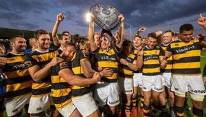 Taranaki celebrate their Ranfurly Shield victory. Photo / Photosport