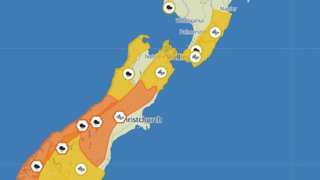 Destructive gales, torrential rain to blast South Island and lower North Island