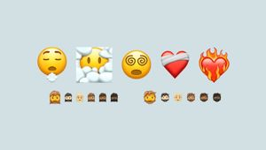 A sample of the new emojis coming in 2021 shows the bandaged heart, face in the clouds and bearded faces.