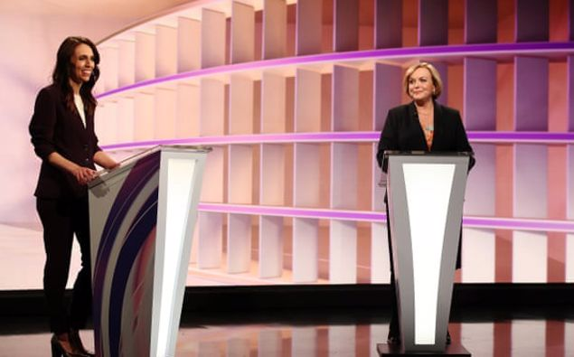 Jacinda Ardern and Judith Collins during the live TV debate. Photograph: / Getty Images