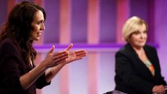 Jacinda Ardern and Judith Collins during the debate. (Photo / TVNZ)