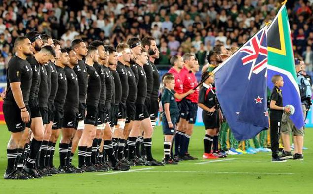 All Blacks line up for national anthems during a clash against the Springboks last year. Photo / Photosport