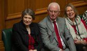 Helen Clark and Sir Michael Cullen watch Labour MP Clare Curran's valedictory speech in Parliament, Wellington. Photo / Mark Mitchell