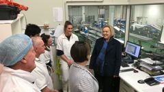 Judith Collins at Westfleet Fresh Seafoods in Greymouth. (Photo / NZ Herald)