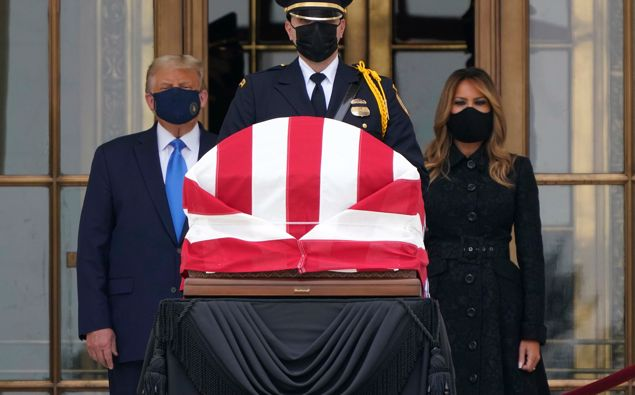President Donald Trump and first lady Melania Trump pay respects as Justice Ruth Bader Ginsburg lies in repose at the Supreme Court building