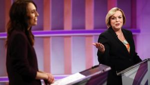 Judith Collins (R) and Jacinda Ardern (L) speak during the live leaders debate in Auckland. Photo / Getty Images