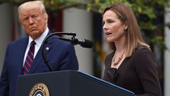 Judge Amy Coney Barrett speaks after being nominated to the US Supreme Court by President Donald Trump in the Rose Garden of the White House in Washington, DC on Sept. 26.