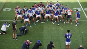 A haka is performed for the retiring Adam Blair. (Photo / Getty)