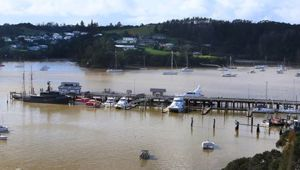 The German-flagged vessel is being held by Customs at a quarantine dock in Opua. Photo / Tania Whyte