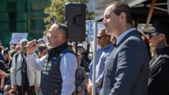 Advance NZ co-leaders Billy Te Kahika, left, and Jami-Lee Ross address the crowd at an anti-lockdown rally in Auckland this month. Photo / Peter Meecham
