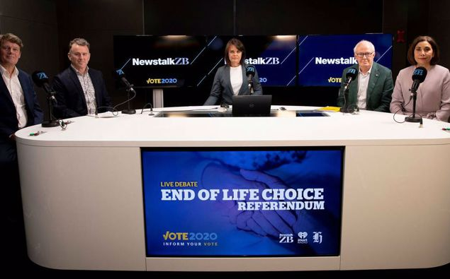 End of Life Choice referendum debate, Stuart Armstrong (left), Dr John Bonning, Heather du Plessis Allan, Prof Rod MacLeod and Dr Mary English.