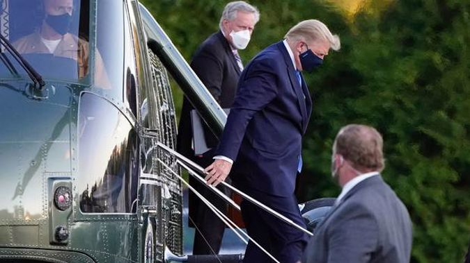 President Donald Trump arrives at Walter Reed National Military Medical Center. Photo / AP