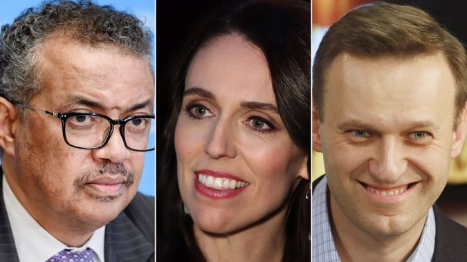 Tedros Adhanom Ghebreyesus, Jacinda Ardern and Sergey Navalny appear to be in contention for the Nobel Peace Prize. (Photo / CNN)