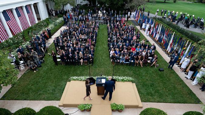 The Rose Garden event for Donald Trump's Supreme Court nominee announcement. (Photo / AP)
