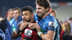 Richie Mo'unga (left) and Beauden Barrett will jostle for the All Balcks starting first-five role. (Photo / Getty)