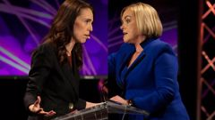 Jacinda Ardern wouldn't say who won the debate and Judith Collins said politics was the winner on the day. Photo / Stuff