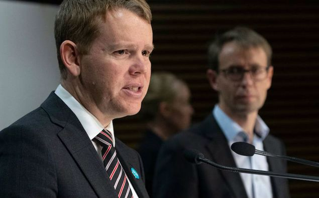 Chris Hipkins and Ashley Bloomfield. (Photo / NZ Herald)