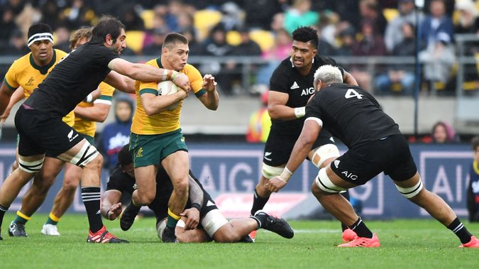 The All Blacks and Wallabies during the test. (Photo / Getty)