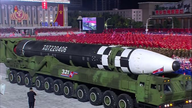 North Korea unveiled what analysts believe to be the world's largest liquid-fueled intercontinental ballistic missile at a parade in Pyongyang. (Photo / Korean Central TV)