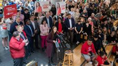 Labour Party leader Jacinda Ardern, flanked by Labour MPs and candidates, during after her speech at Victoria University. Photo / Mark Mitchell