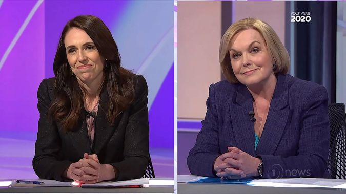 Prime Minister Jacinda Ardern and National leader Judith Collins went head to head in the final Leaders' debate. Photo / TVNZ