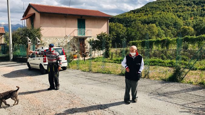 This Italian town has just two residents, but they still insist on wearing masks.