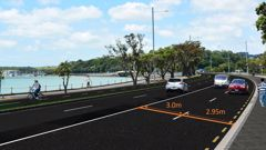 An Auckland Transport design of the road widths of Tamaki Drive. Auckland buses are typically 2.85m wide. Source: Auckland Transport