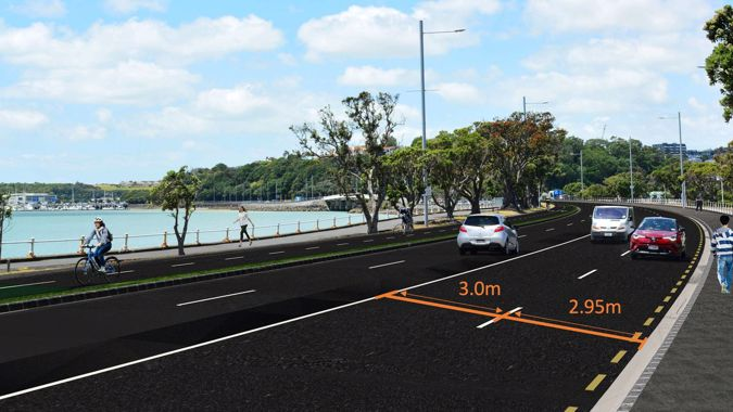 Buses and luxury SUVs barely fit into new narrow lanes on one Auckland's busiest roads